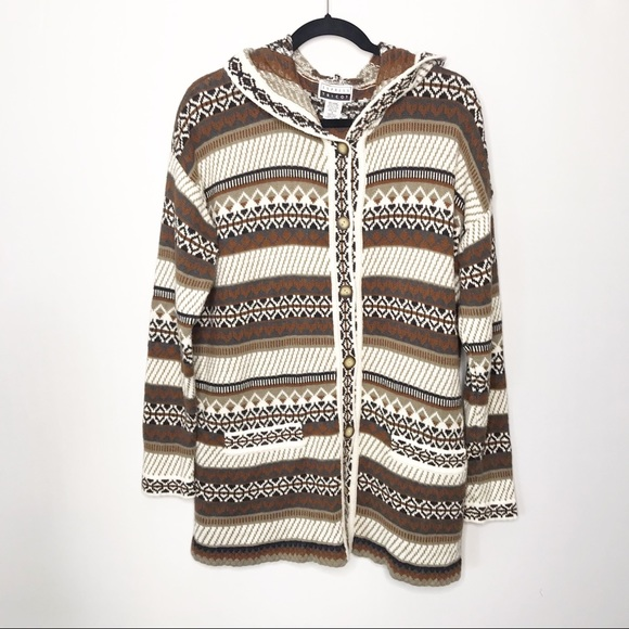 Vintage Express Tricot Abstract Striped Sweater